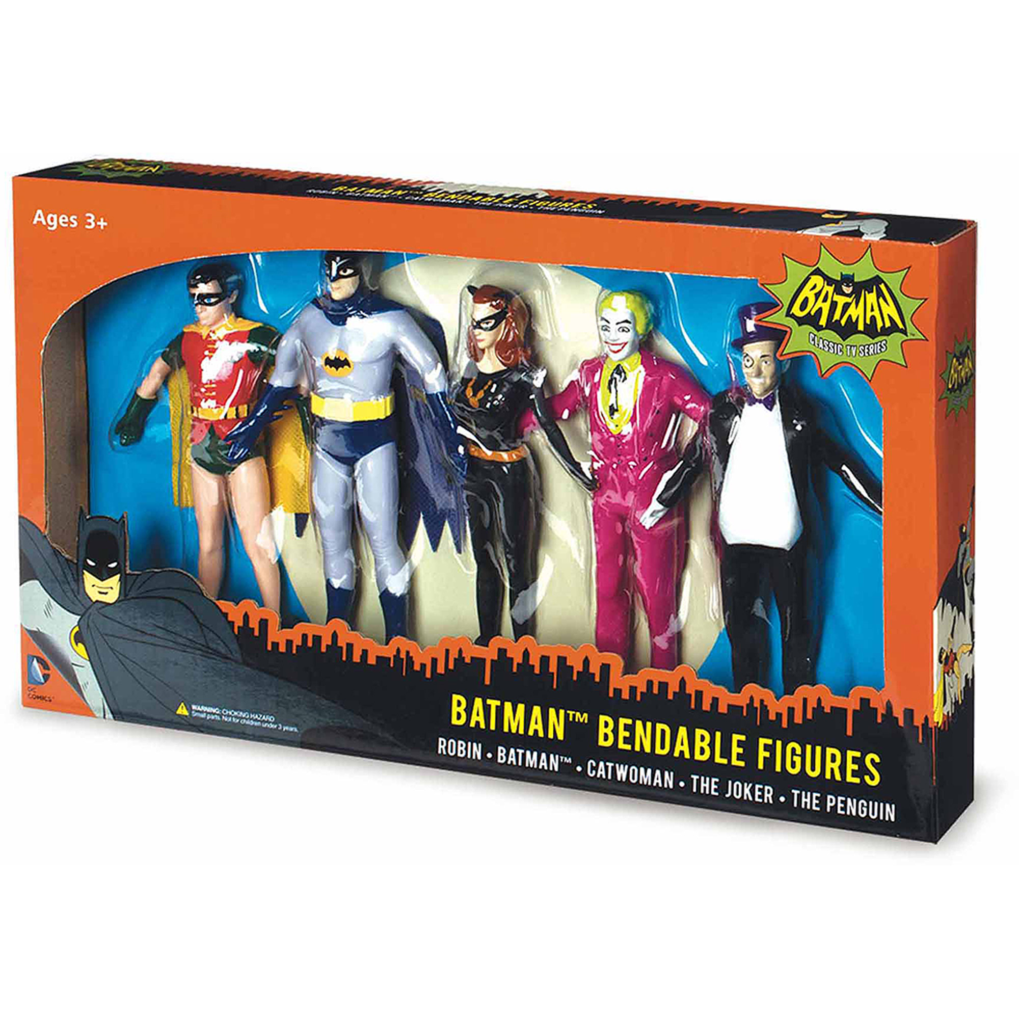 NJ Croce Batman Classic TV Series Bendable Boxed Set, Batman, Robin, Catwoman, The Joker and The Penguin