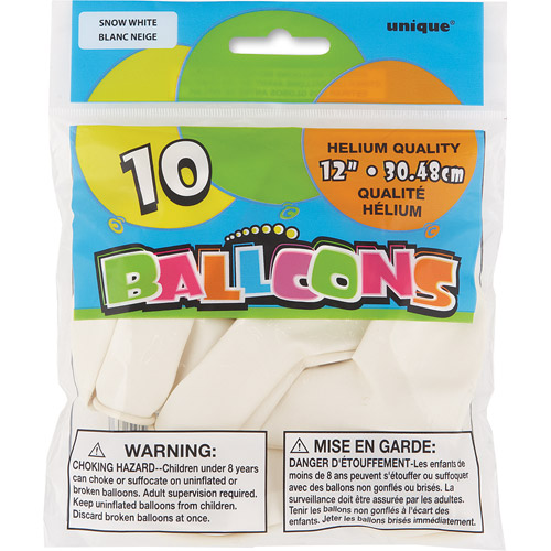 12��� White Balloons, 10ct