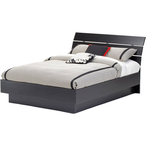 Laguna Full Platform Bed With Headboard, Black Woodgrain