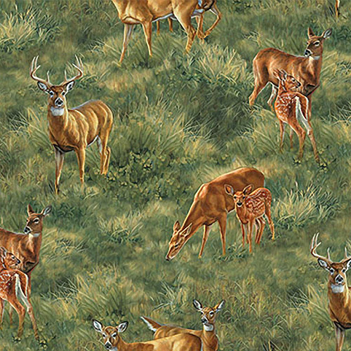 "Creative Cuts Cotton 44"" wide, 2 yard cut fabric - Wildlife Deer"