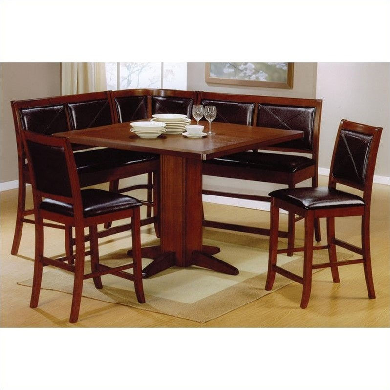 Coaster Breakfast Corner Nook Table Set in Brown