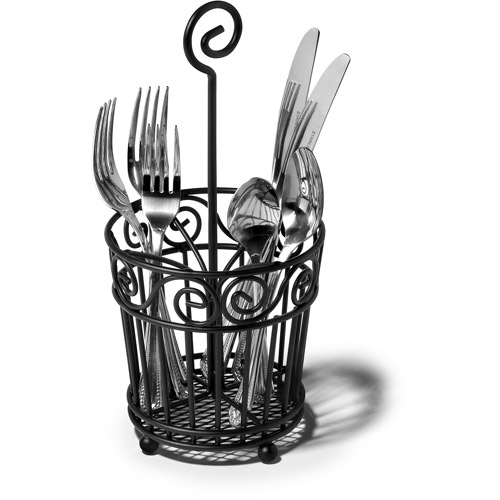 Spectrum Portable Silverware Caddy, Black Scroll