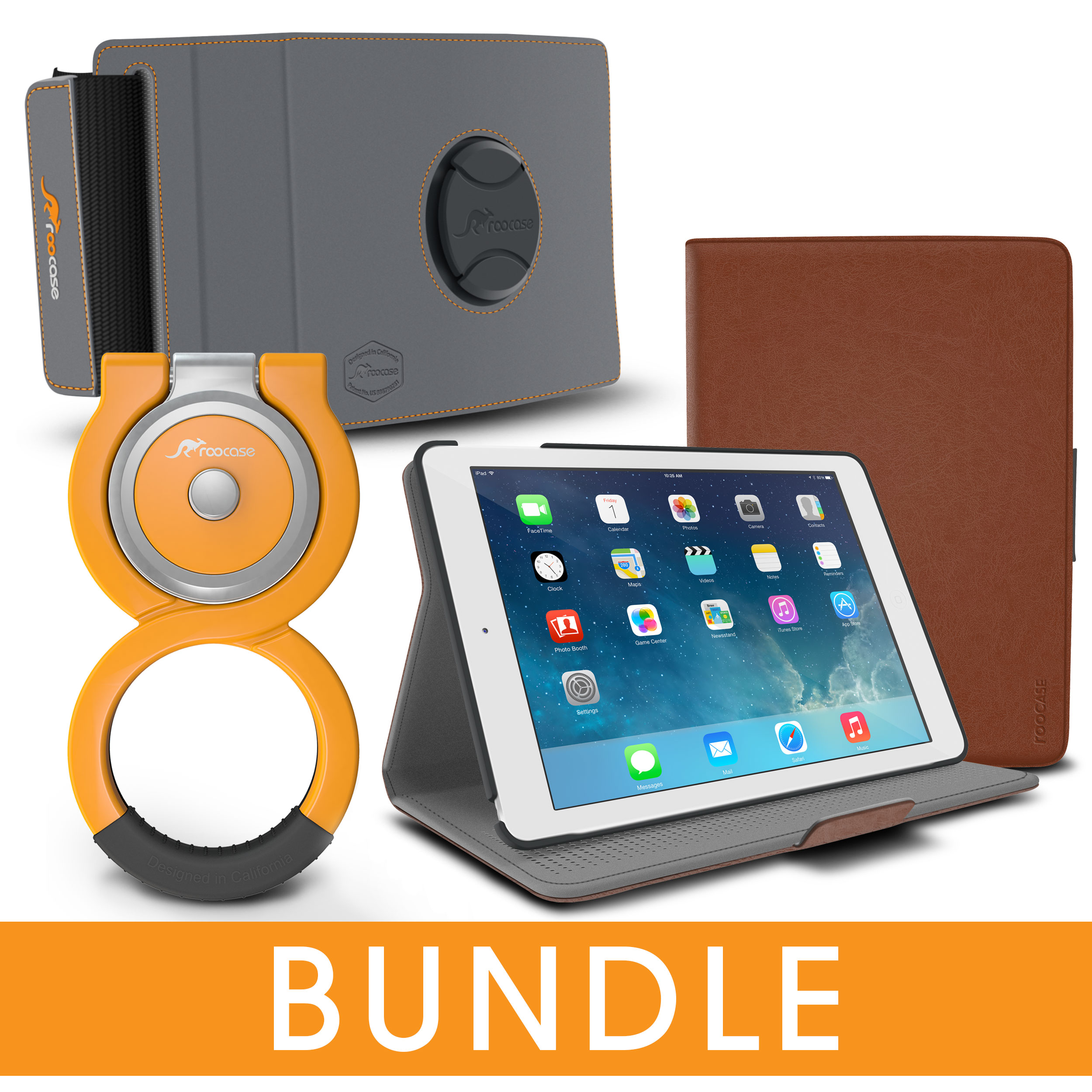 iPad Air 2 \/ Air 1 Case, rooCASE Orb Folio 360 Rotating Leather Case with Loop Stand + Car Mount Attachment for Apple iPad Air 2 \/ Air 1