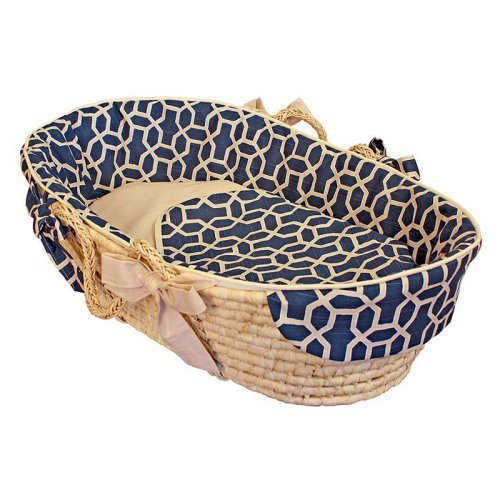 Hoohobbers Pebbles Navy Moses Basket - Tailored