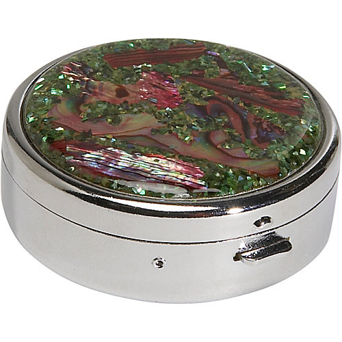 Budd Leather Mother of Pearl Round Pill Box