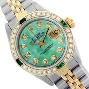 Pre-Owned Rolex Ladies Datejust Green Mother of Pearl Diamond Bezel Two Tone 26mm