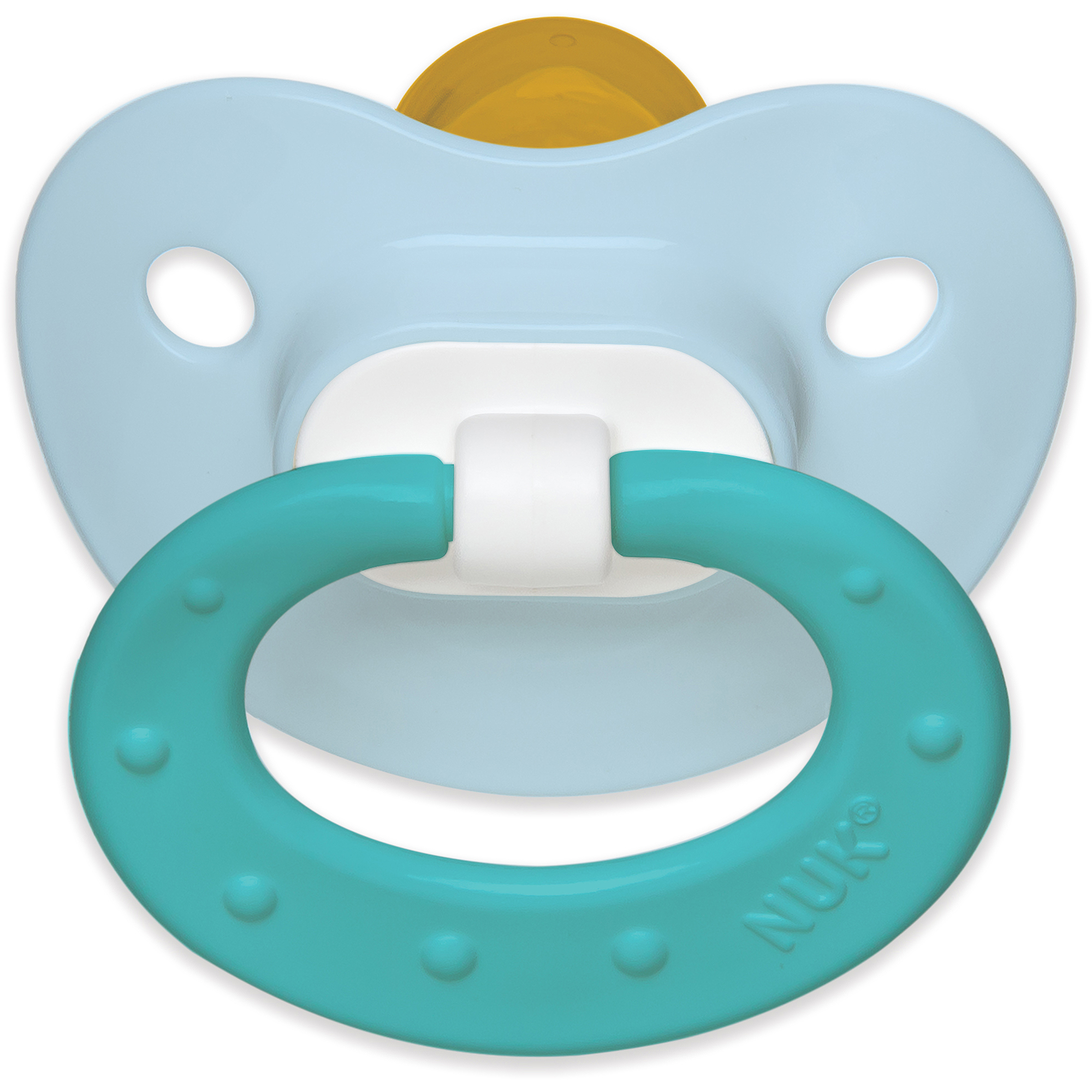 NUK Juicy Latex Orthodontic Pacifiers, 2ct, 0-6 months, BPA-Free (Colors May Vary)
