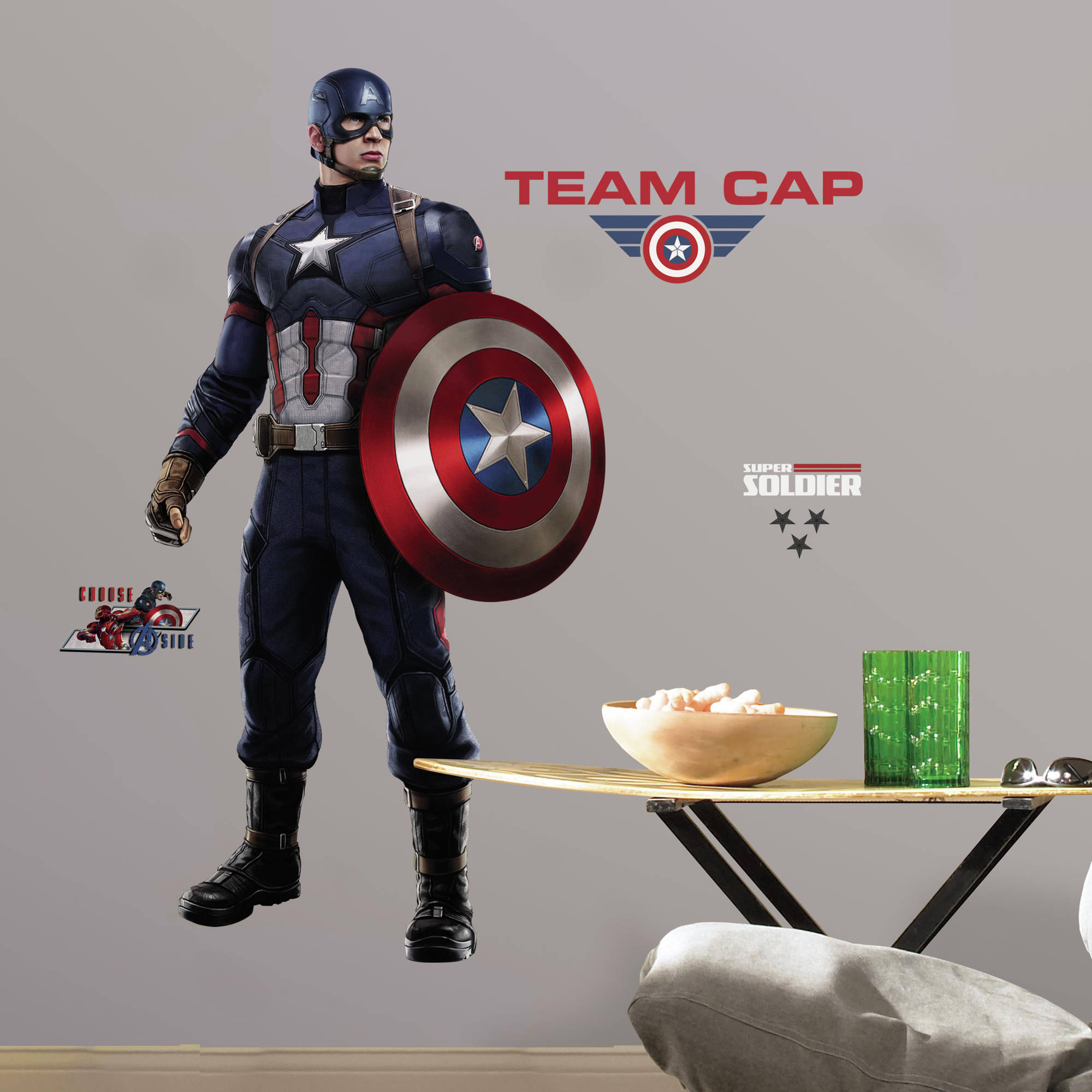 RoomMates Decor Captain America: Civil War Peel-and-Stick Giant Wall Decals