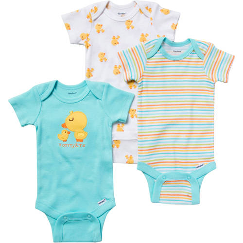Gerber Newborn Baby Boy Or Girl Unisex Bodysuits Variety, 3-Pack