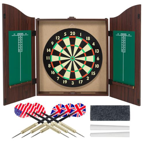 Gameroom Dartboard Cabinet Set with Realistic Walnut Finish