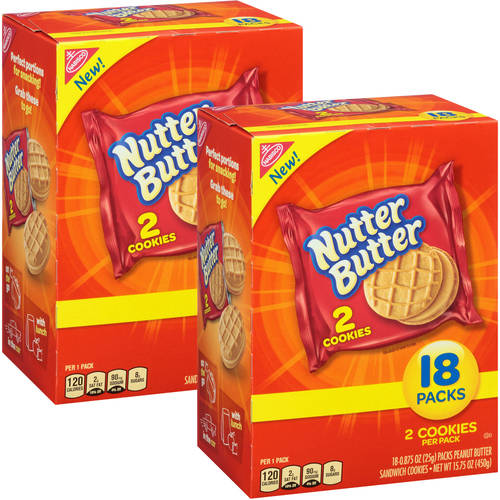 Nabisco Nutter Butter Peanut Butter Sandwich Cookies, 0.875 oz, 18 count(Pack of 2)