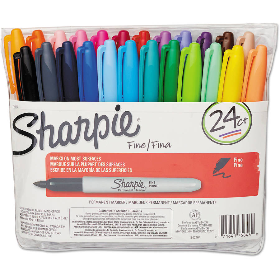 Sharpie Fine Point Permanent Markers, Assorted, 24-pack