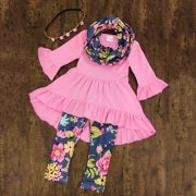 Toddler Baby Girls Flower Top Blouse Pants Leggings Outfits Set Clothes 3Pcs
