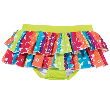 Sun Smarties Baby Girl Swim Diaper Skirt - Pink Red Green Floral - Public Pool Approved