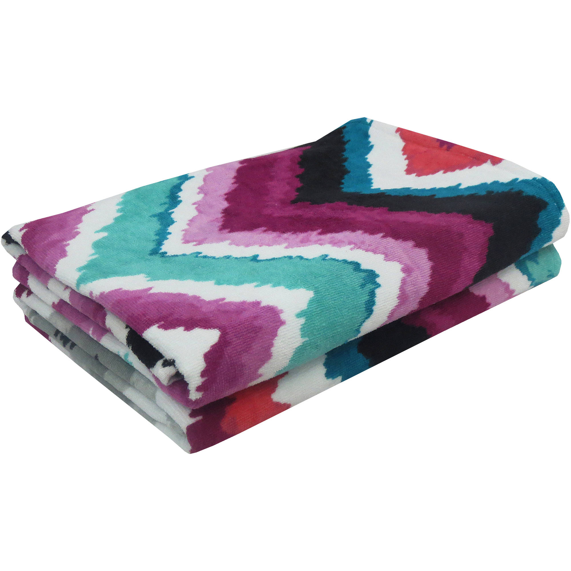 Mainstays Painted Chevron Beach Towel, Set of 2