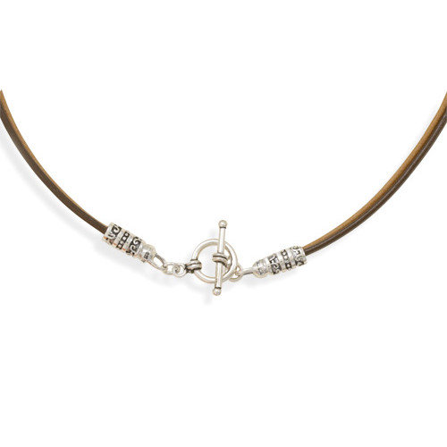 Jewelryweb Sterling Silver 16 Inch Double Strand Leather Necklace 3.5mm Wide Silver Toggle Closure
