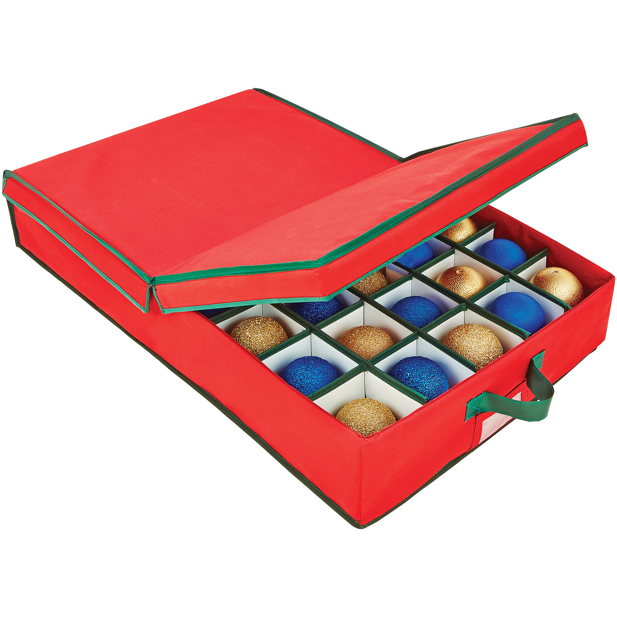 Simplify Christmas Storage Ornament Organizer Tote, 40-Count, Red