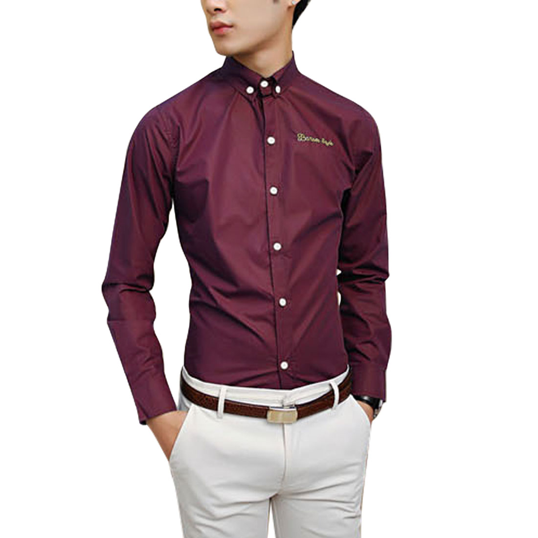 Azzuro Men's Button Cuffs Embroidery Letters Detail Casual Shirt Red (Size M / 40��