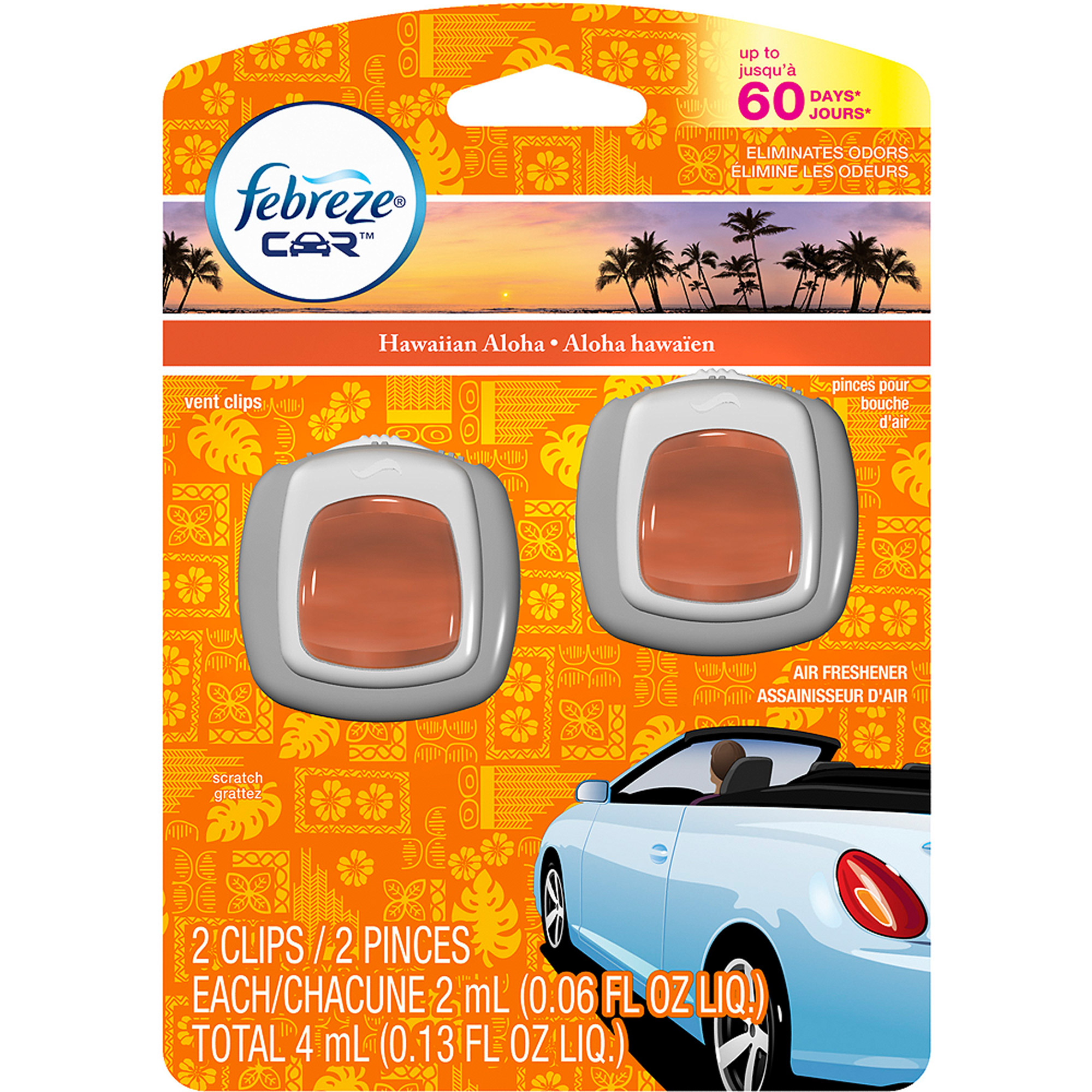 Febreze Car Vent Clips Hawaiian Aloha Air Freshener (2 ct; 2 mL ea)