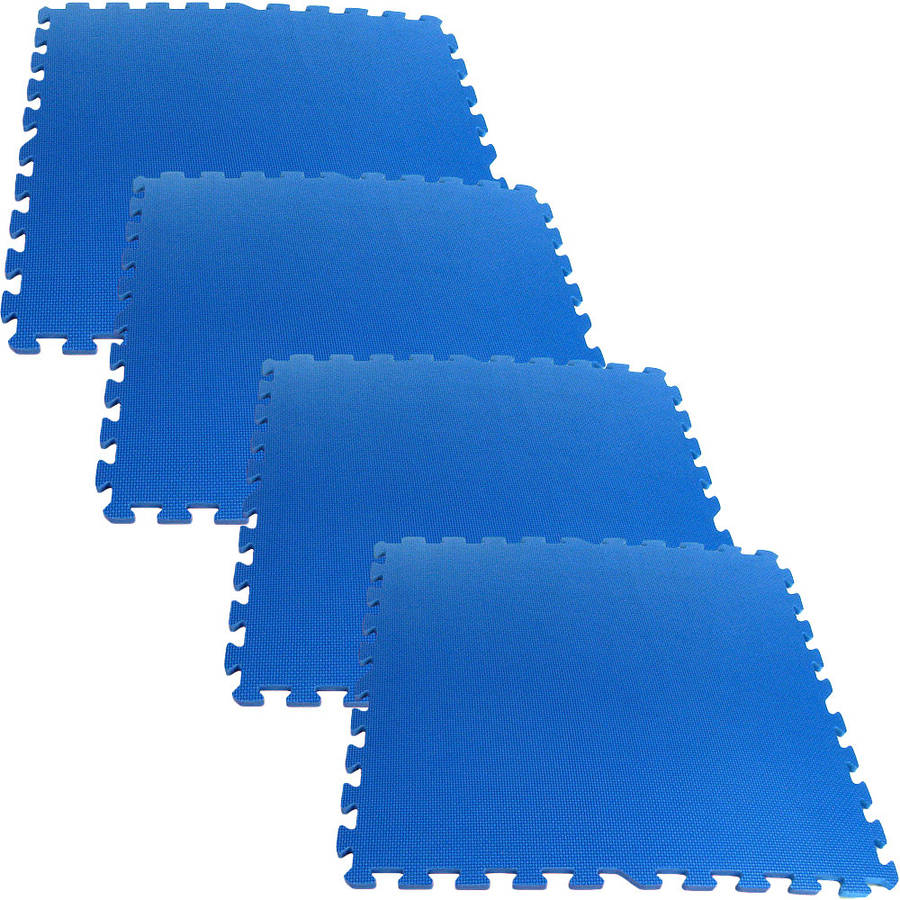Stalwart 16 sq ft Ultimate Comfort Foam Flooring, Blue, 4pc