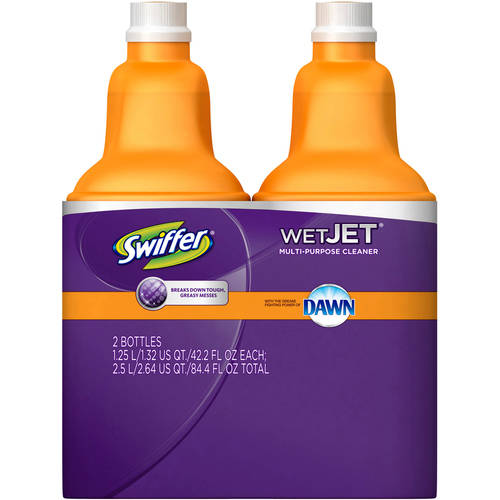 Swiffer Wet Jet Cleaner Solution Refill with Dawn, 42.2 fl oz, 2 count