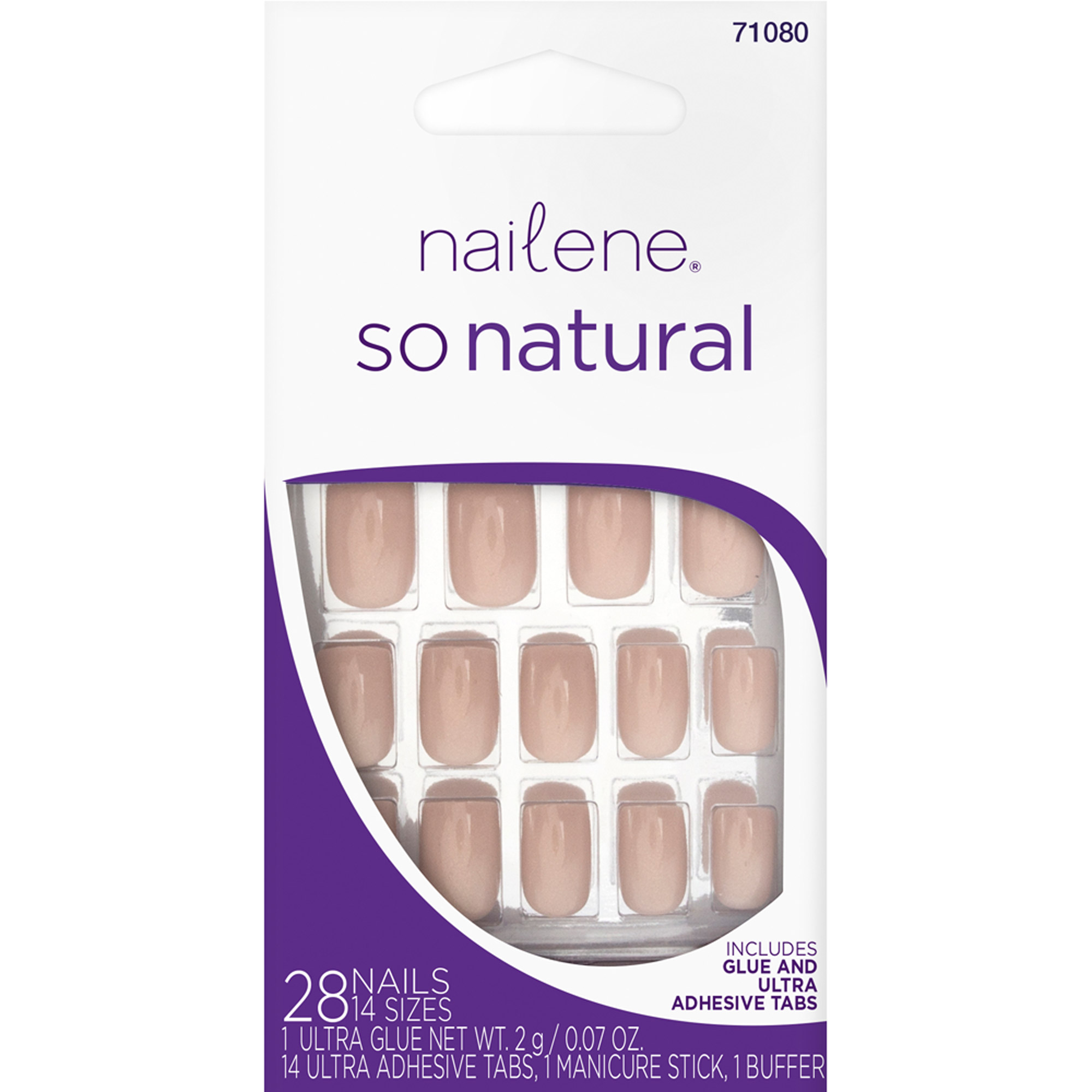 Nailene So Natural Nude Shimmer Glue-On Nails Set, 45 pc