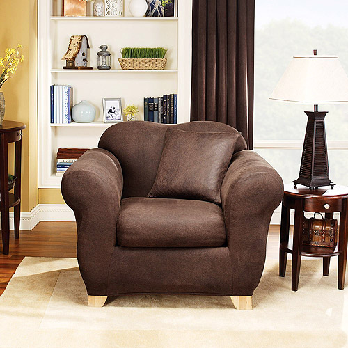 Sure Fit Stretch Leather 2-piece Chair Slipcover, Brown