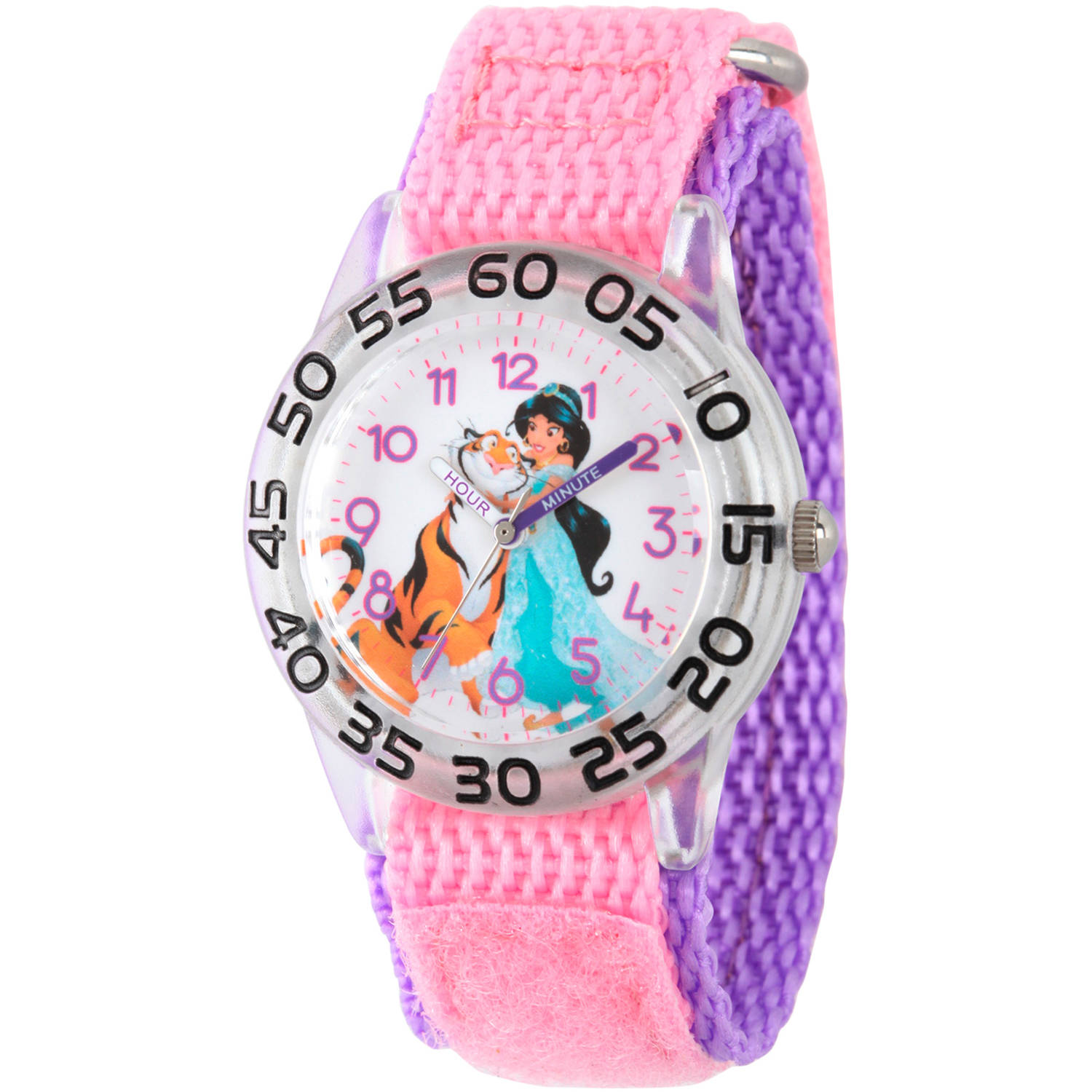 Disney Aladdin Jasmin and Rajah Girls' Plastic Time Teacher Watch, Pink Nylon Strap