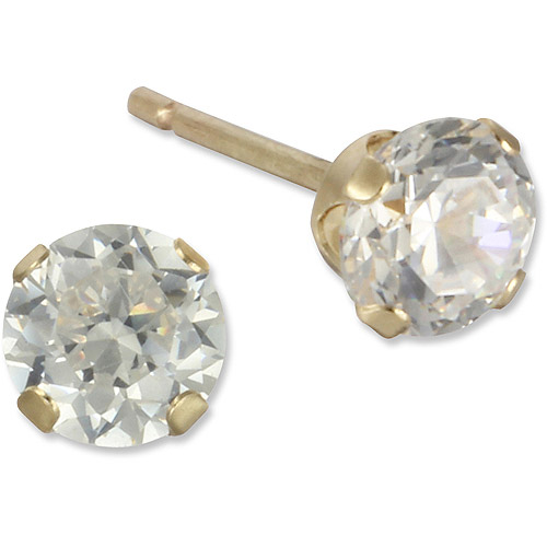 4mm Round CZ 10kt Yellow Gold Stud Earrings