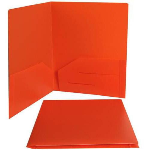 "JAM Paper (9 1/2"" x 11 5/8"") Heavy-Duty Plastic 2-Pocket Presentation School Folders, Orange"
