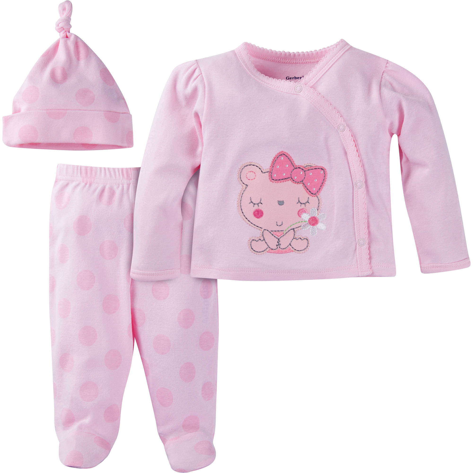 Gerber Newborn Baby Girl Take-Me-Home 3-Piece Layette Gift Set