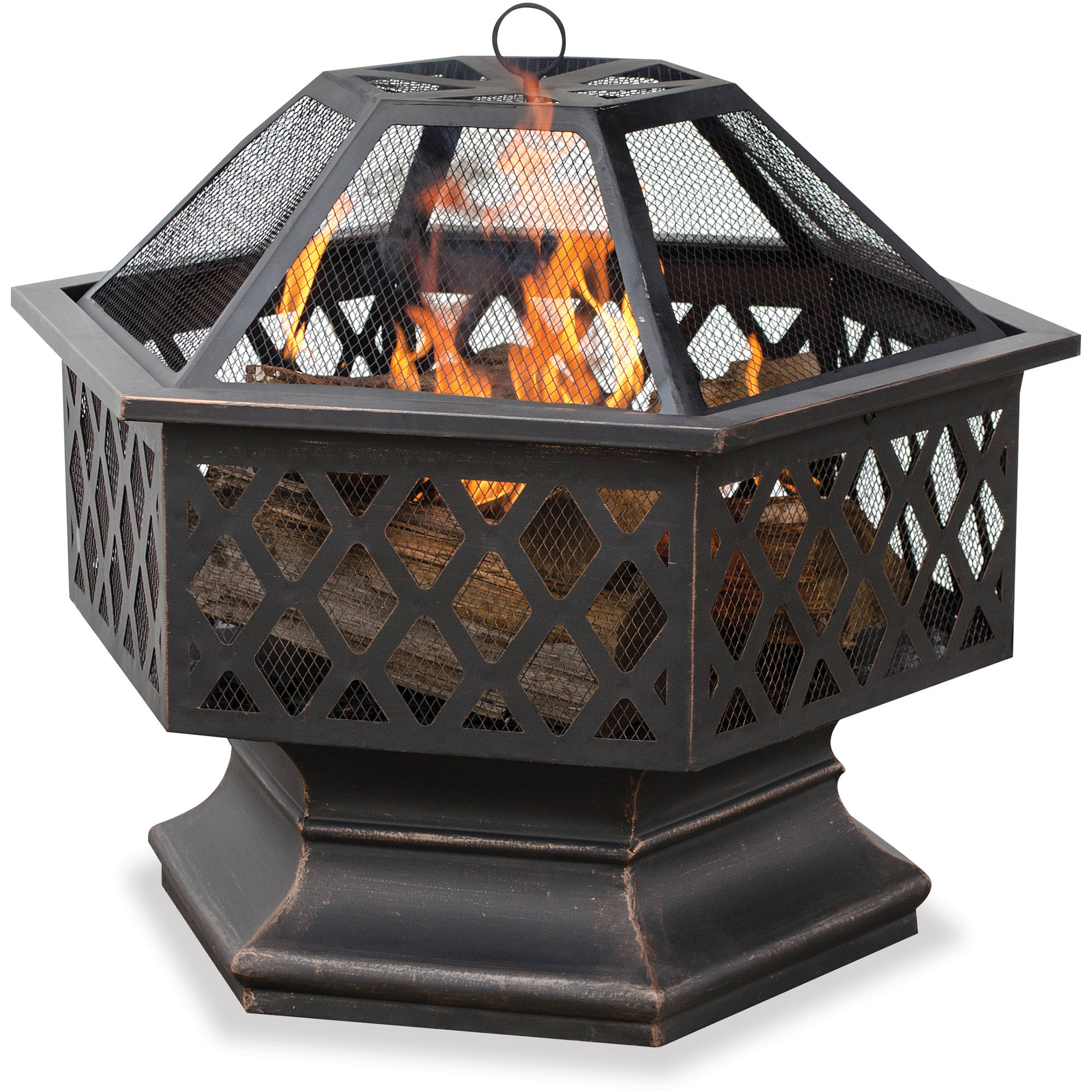 Deep Bronze 6-Sided Lattice Fire Pit Bowl