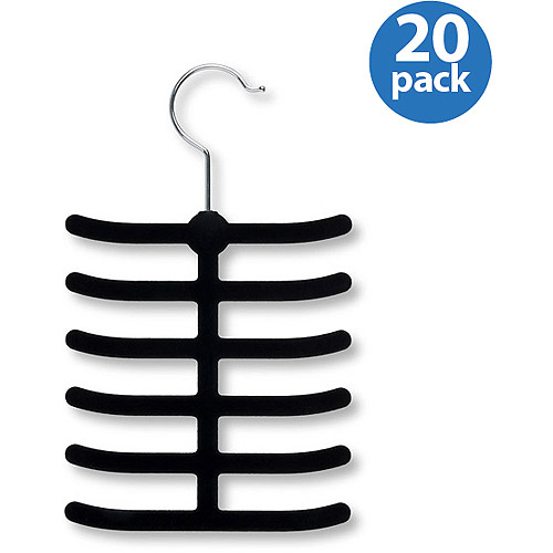 Honey-Can-Do 12-Hook Tie Hanger, Black, 20-Pack