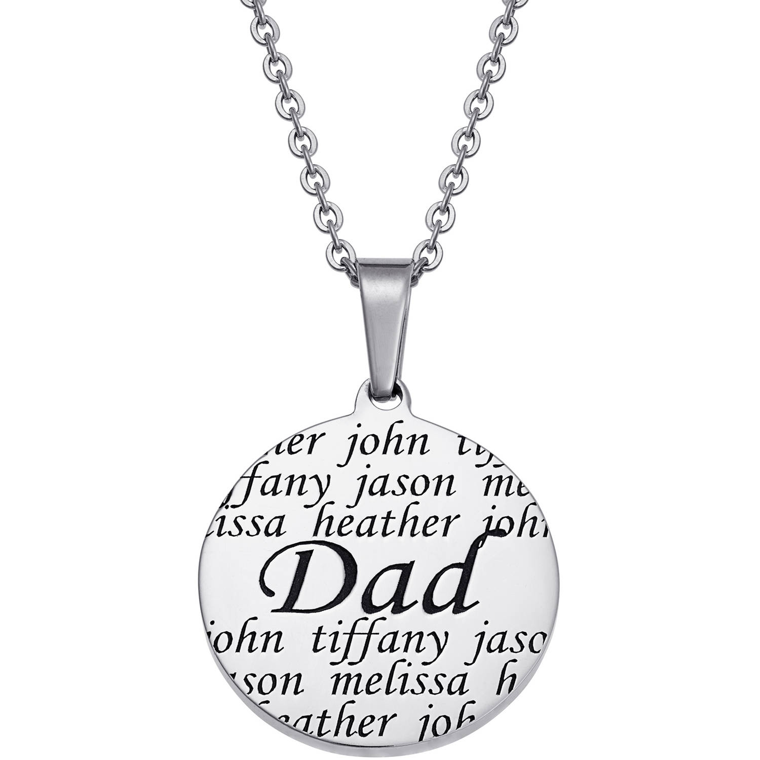 Personalized Stainless Steel Everscribe Dad Family Names Necklace