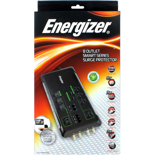 Energizer 8-Outlet Eco Friendly Surge Protector, Black