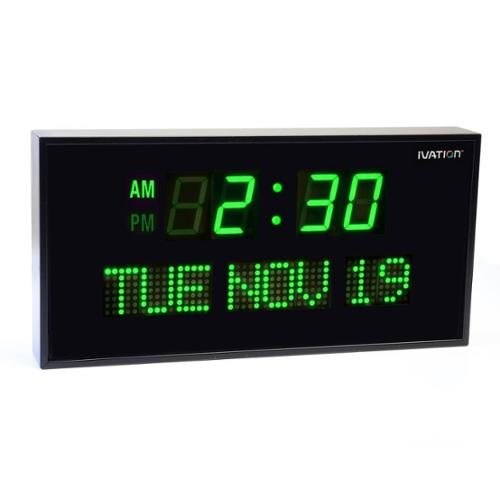 Ivation Big Digital Green LED Clock with Day and Date -Shelf or Wall Mount (12 inch)