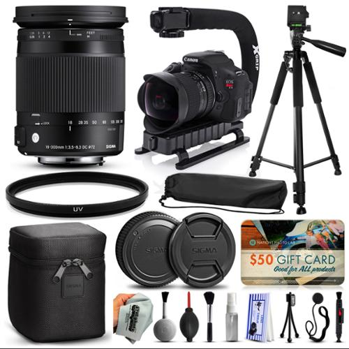 "Sigma 18-300mm F3.5-6.3 DC MACRO OS HSM C Lens for Nikon (886306) + 60"" Tripod + Action Stabilizer Handle + Ultra Violet Filter + Cleaning Kit + Lens Brush + Cap Keeper + $50 Gift Card for Prints"