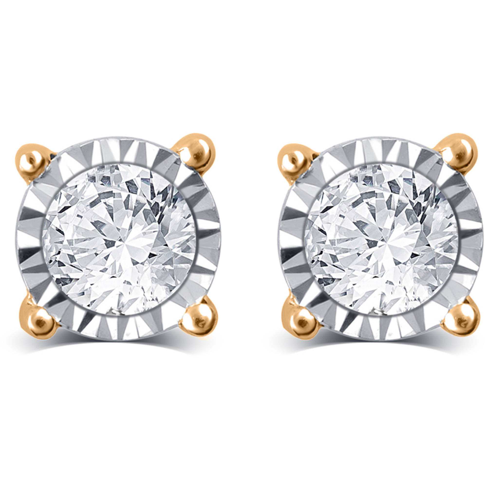 1/4 Carat T.W. Round White Diamond 10kt Yellow Gold Stud Earrings