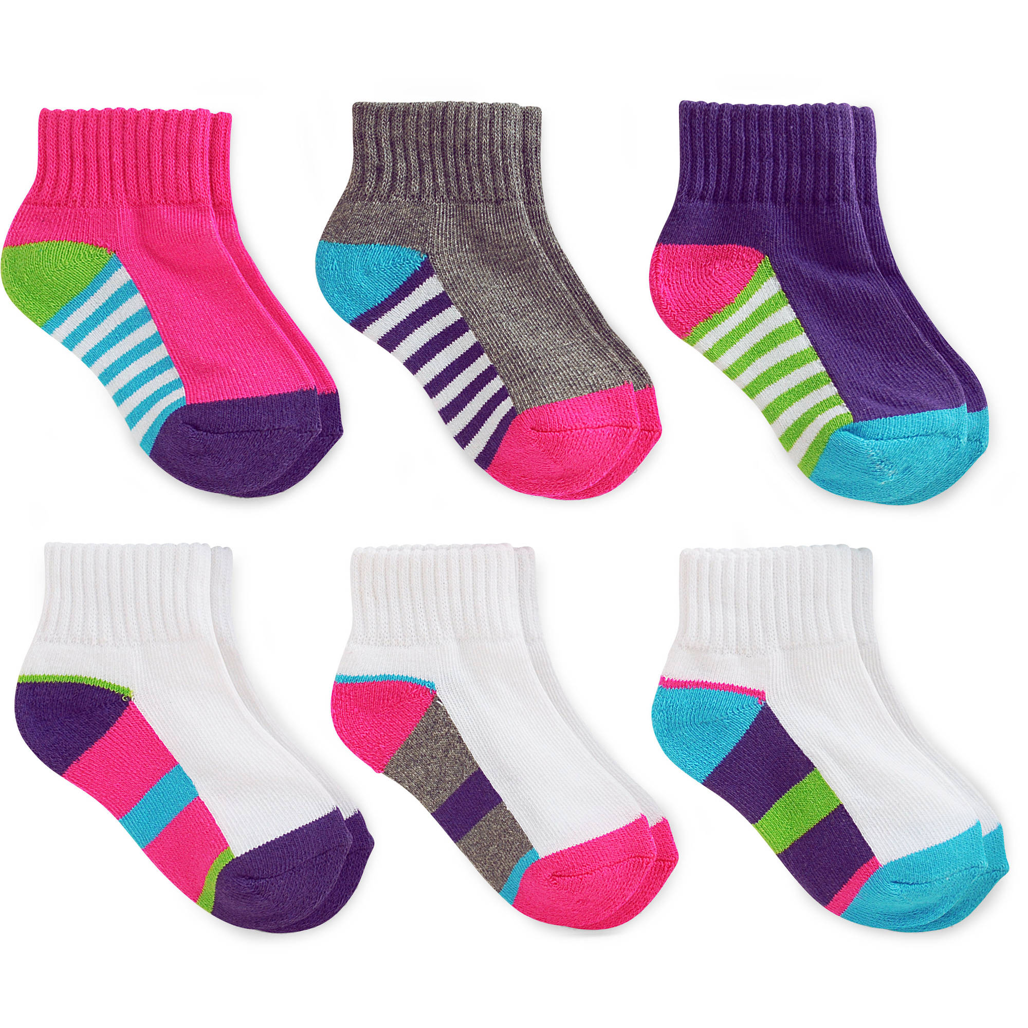 Garanimals Baby Toddler Girls' Colored Ankle Socks Ages NB-5T, 6-Pack