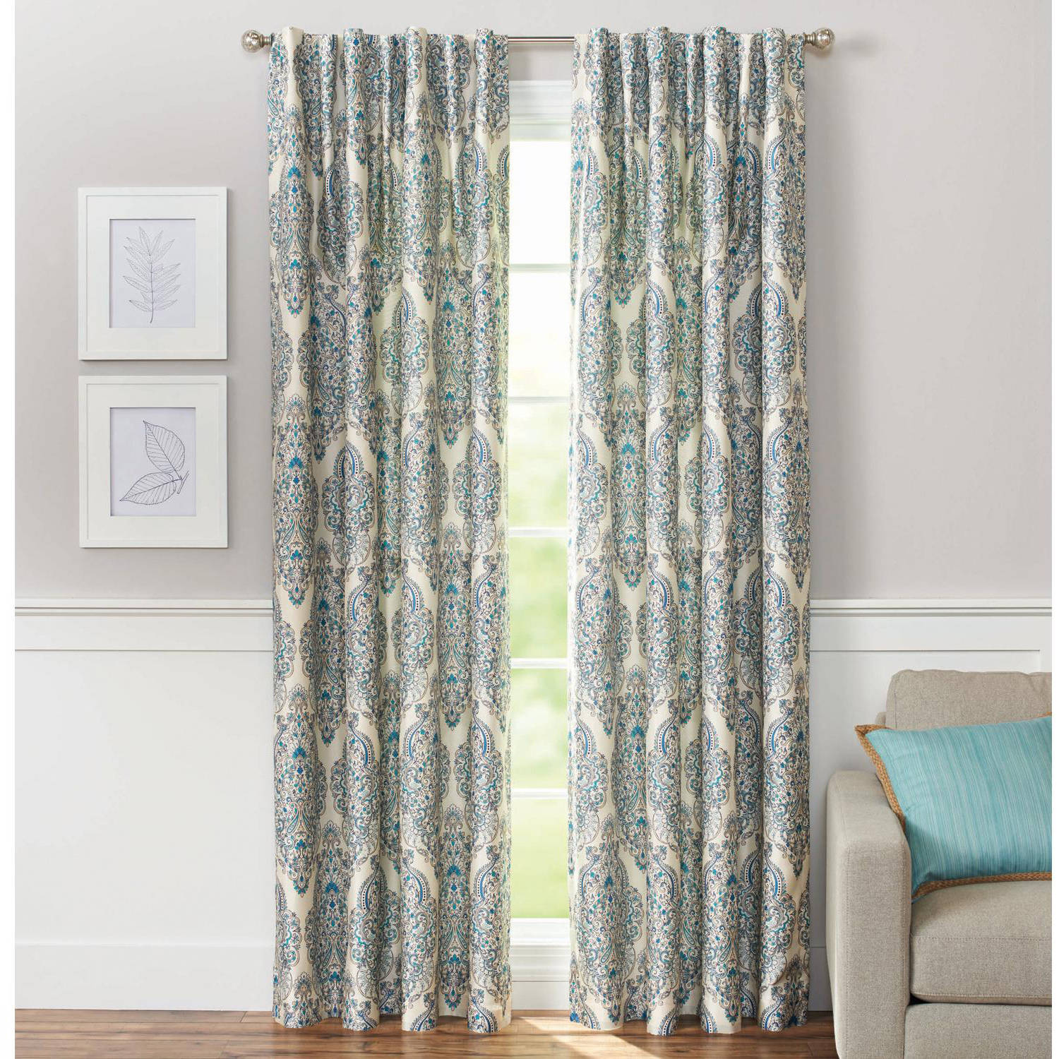 Better Homes and Gardens Persian Damask with Room-Darkening Lining Rod Pocket Window Panel, Blue