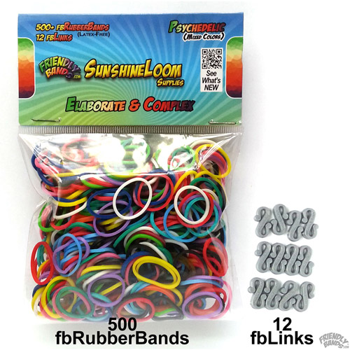 Friendly Bands Sunshine Bands Pack, Psychedelic Mixed Colors