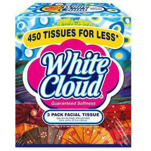 White Cloud 3 Pack Facial Tissues, 150-Sheet Flat Tissue Boxes