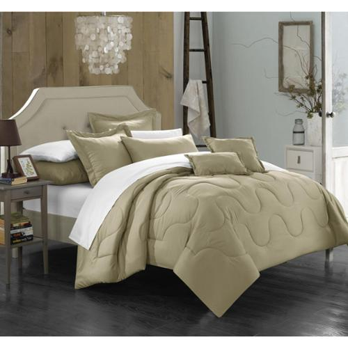Chic Home Direllei Taupe Down Alternative 7-piece Comforter Set Twin