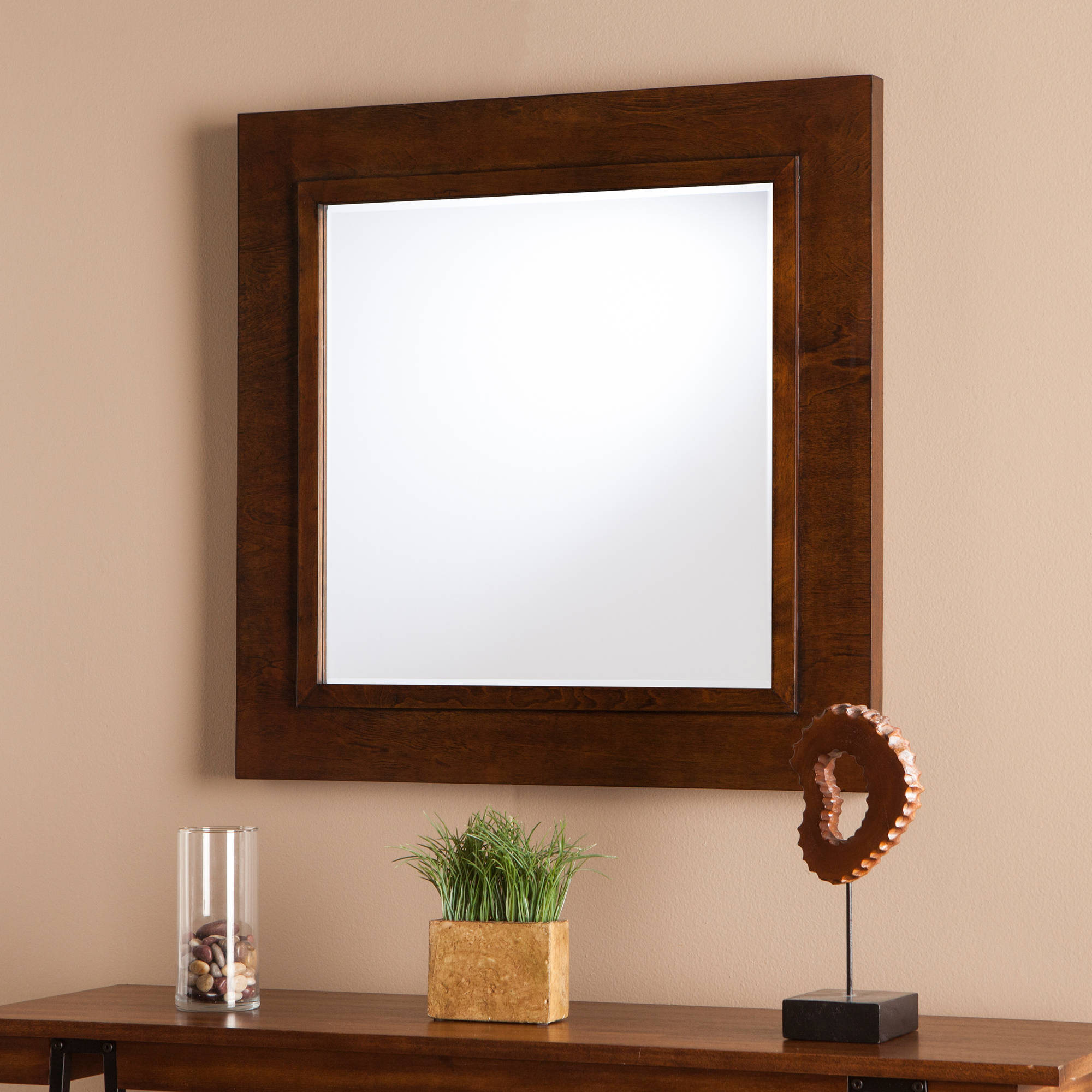 Southern Enterprises Damione Decorative Mirror, Oak Saddle