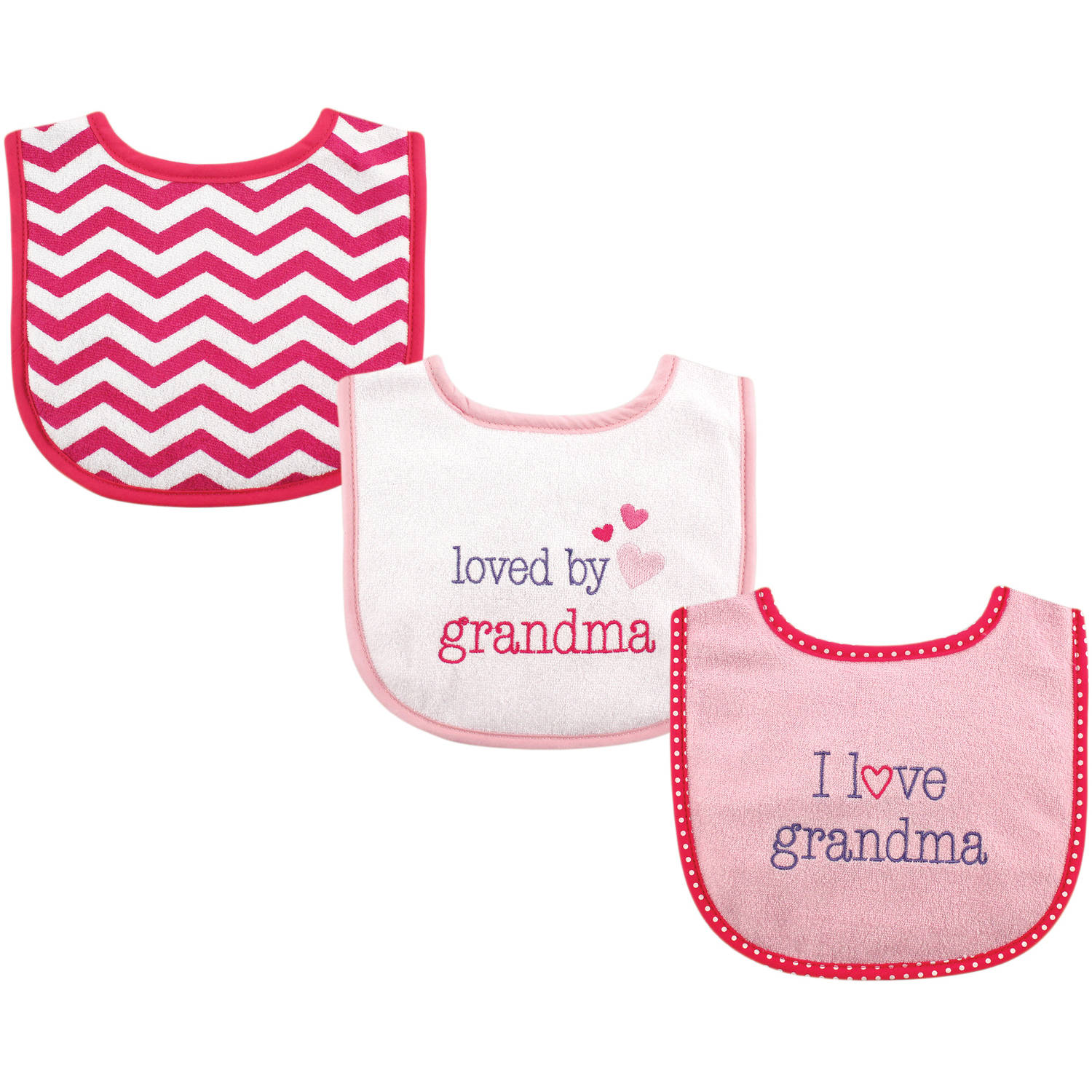 Luvable Friends I Love Drooler Bib, 3pk, Girl Grandma