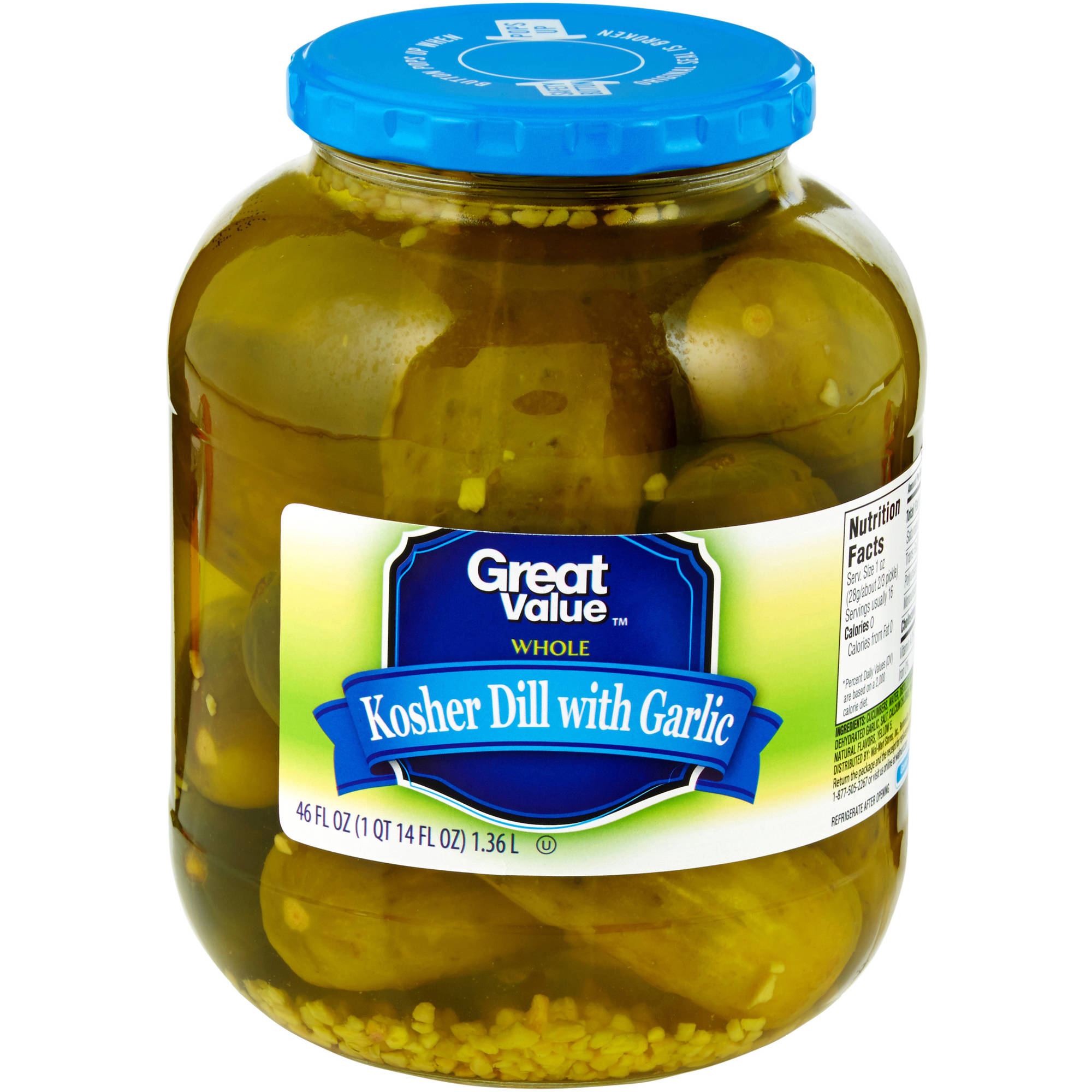 Great Value: Kosher Whole Dill Pickles, 46 Fl Oz