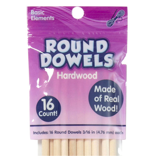 Kids Craft Round Dowels, Hardwood