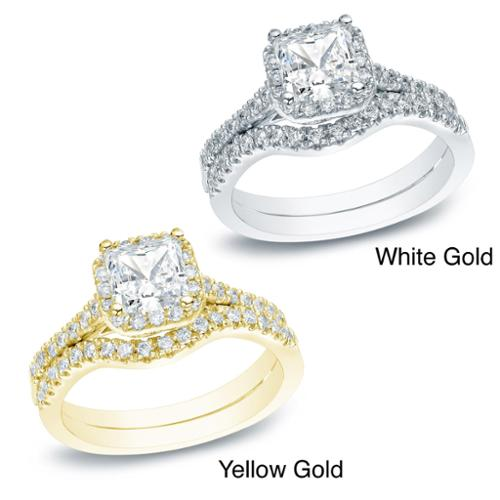 Auriya 14k Gold 1 1/5ct TDW Princess Diamond Bridal Set (I-J, I1-I2) Yellow - Size 8