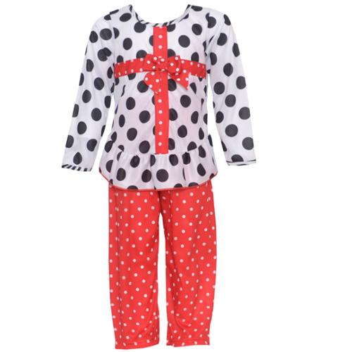 Laura Dare Little Girls Black White Red Dot Bow Package 2 Pc Pajama Set 2T-6X