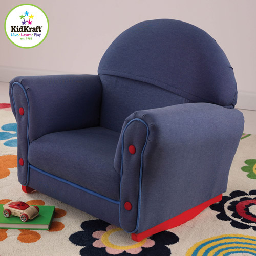 KidKraft Upholstered Rocker with Velour Slip Cover, Denim